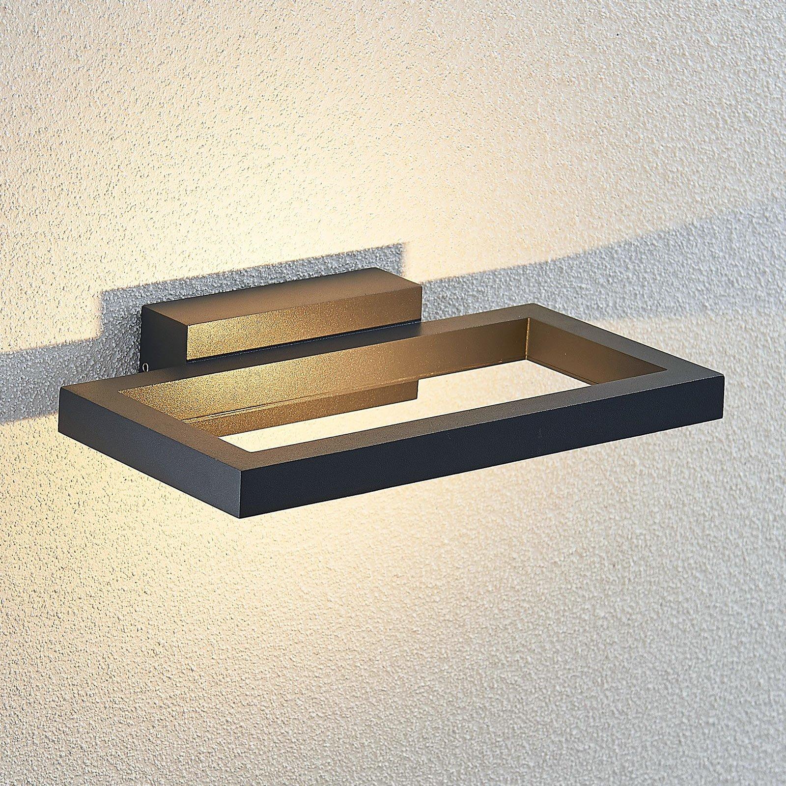 Utendørs LED-vegglampe Loki, mørk grå, 26 cm