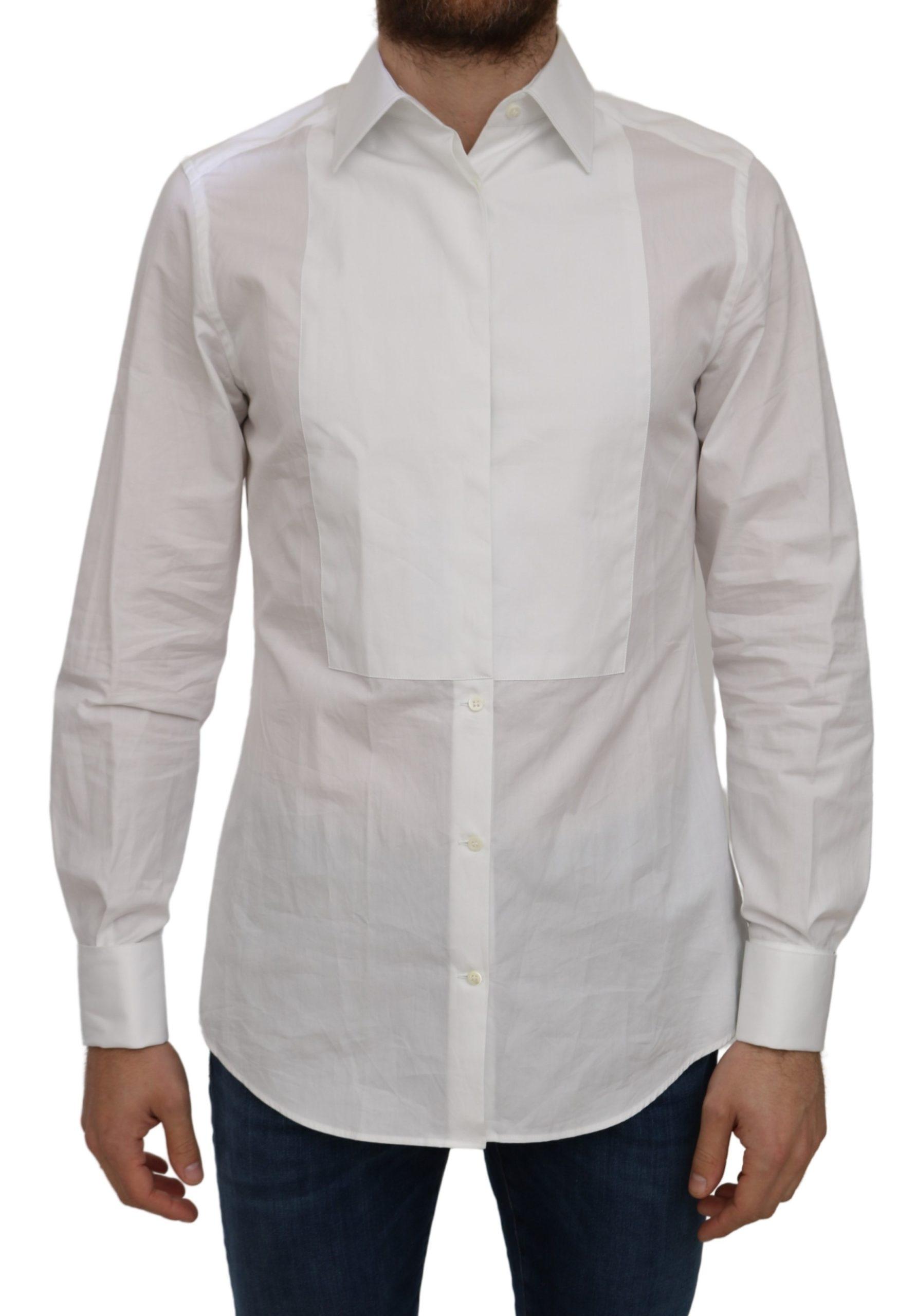 Dolce & Gabbana Men's Cotton Solid Shirt White TSH5028 - IT42 | XL
