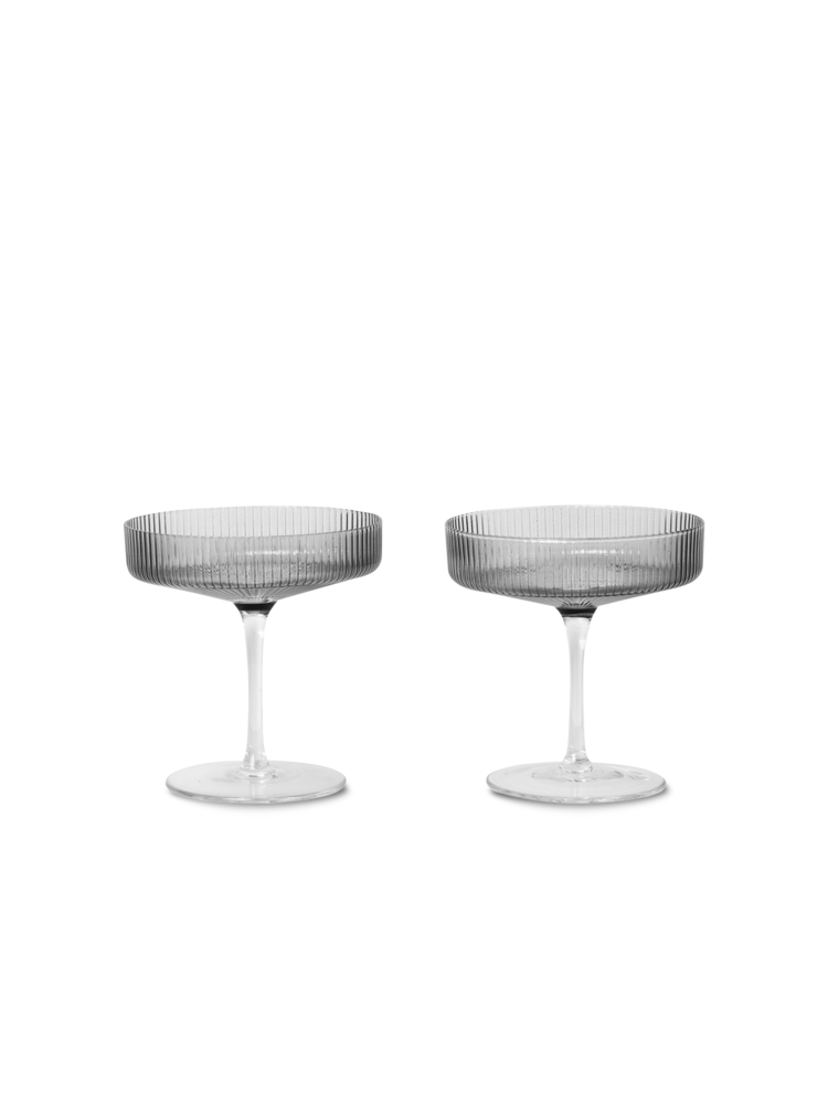 Ferm Living - Ripple Champagne Glass Set Of 2 - Smoked Grey (100126112)
