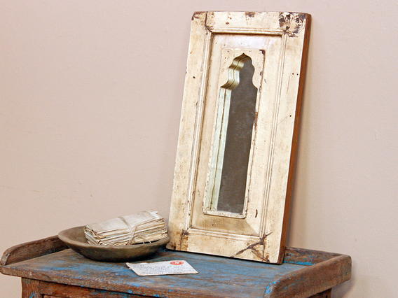 White Framed Mirror Medium