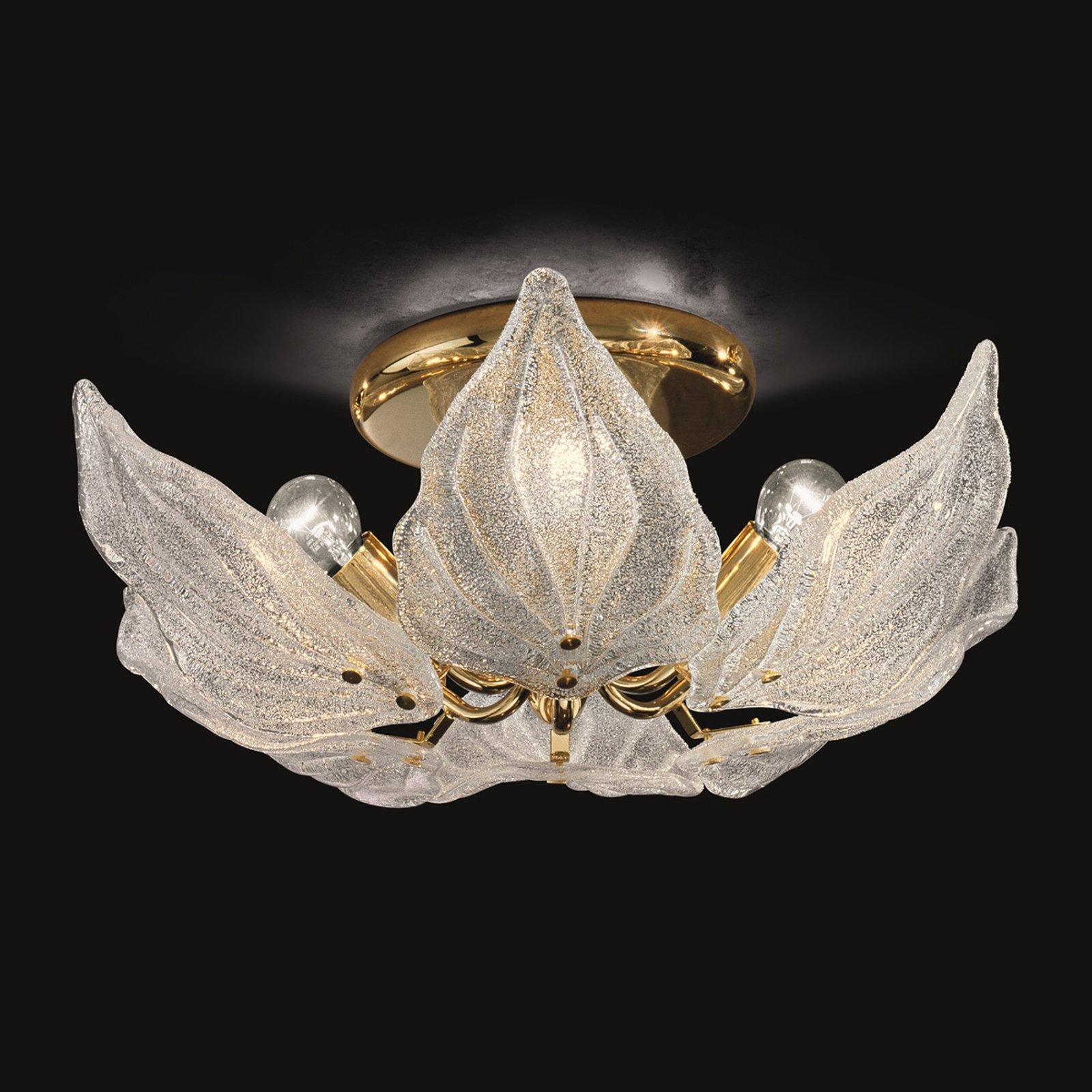 Glass-taklampe Foglie, seks lyskilder