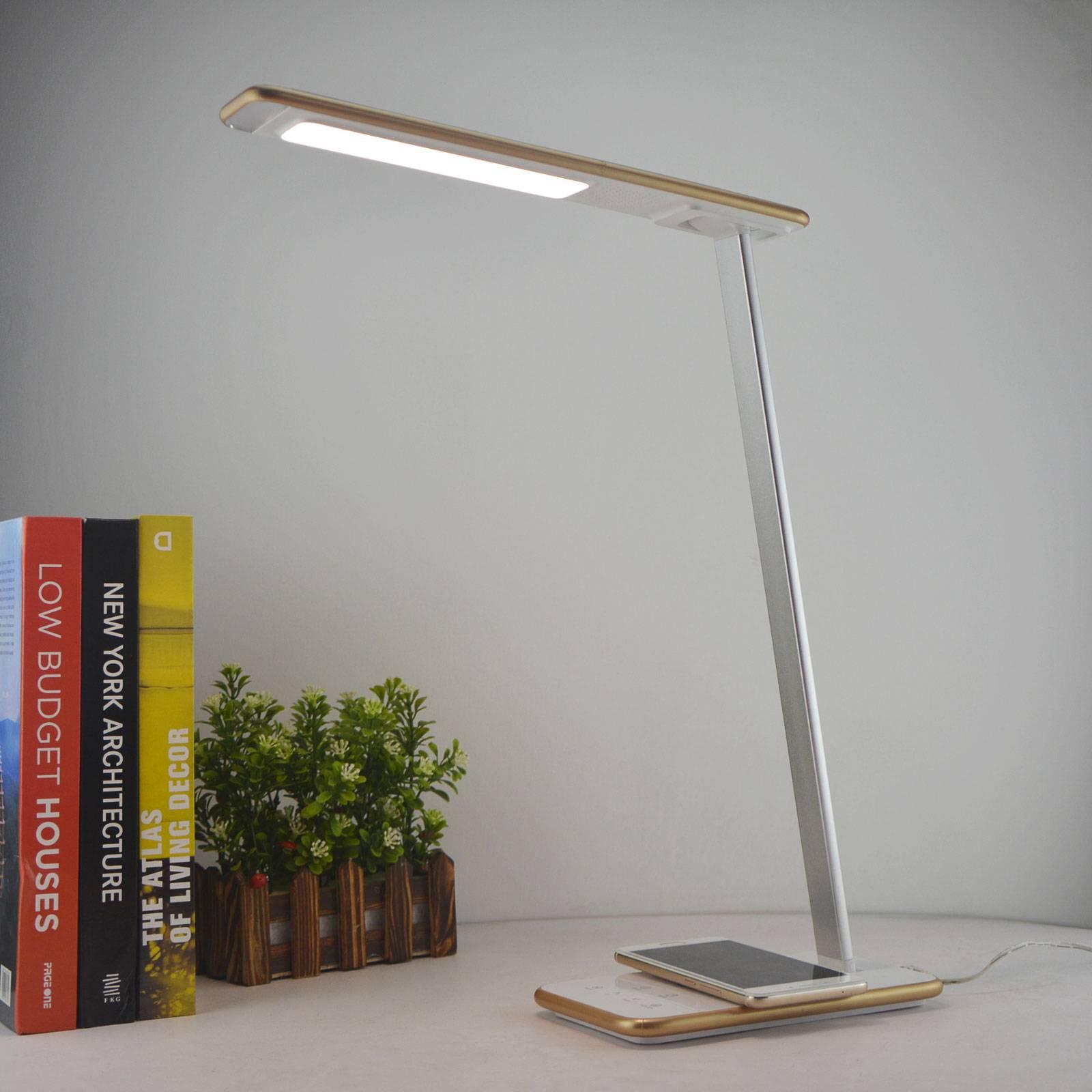 Orbit-LED-työpöytälamppu, induktioalusta, kulta