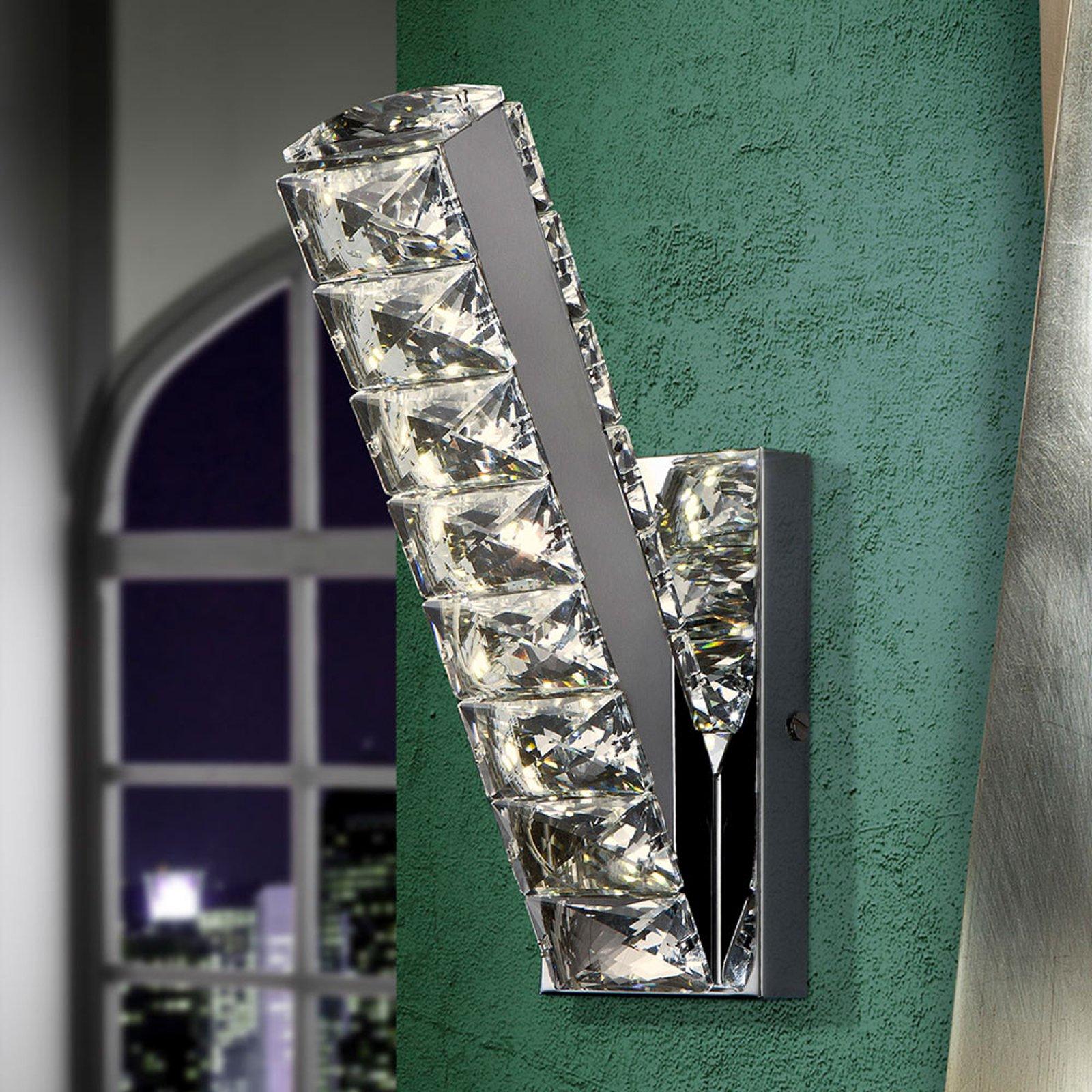 LED-vegglampe Diva med krystaller