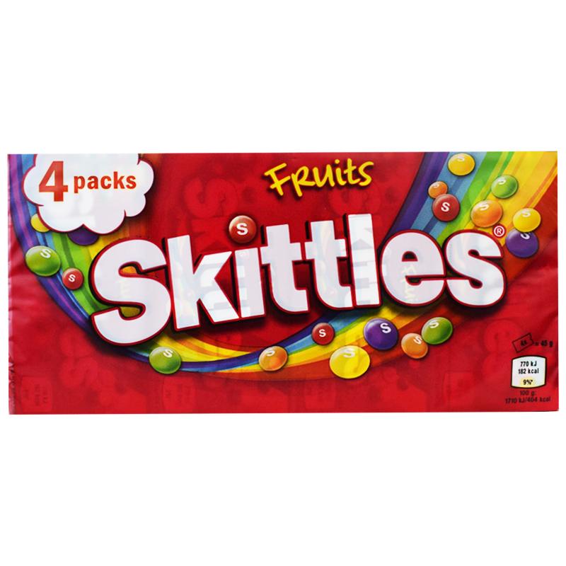 "Godis ""Skittles Fruit"" 4 x 45g - 34% rabatt"
