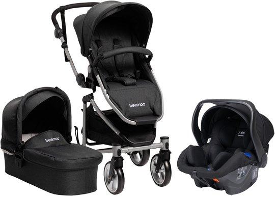 Beemoo Flexi Travel 3 Duovogn inkl. Babybilstol, Black Melange