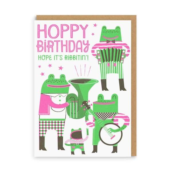 Hoppy Birthday Frogs Greeting Card