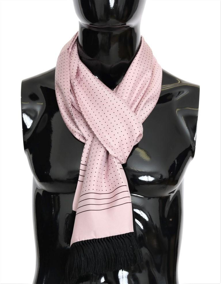 Dolce & Gabbana Men's Polka Dotted Silk Fringes Scarf Pink MS1957