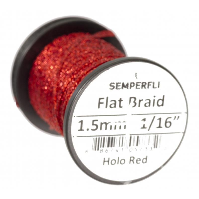 Semperfli Flat Braid 1,5mm Holographic Red