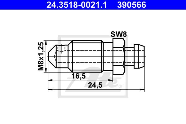 Huohottimen pultti / venttiili ATE 24.3518-0021.1