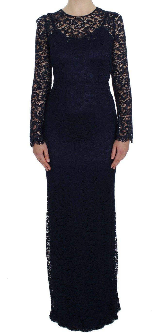 Dolce & Gabbana Women's Floral Lace LS Sheath Dress Blue NOC10113 - IT38 XS