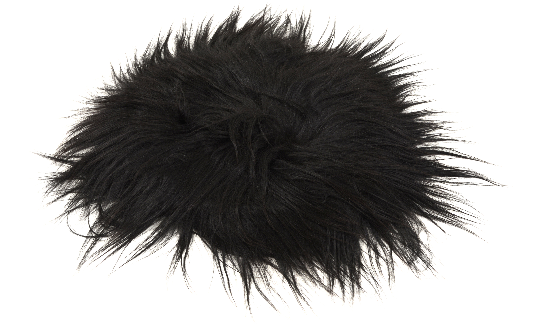 Molly langhåret rund stolpute i saueskinn - svart/brun