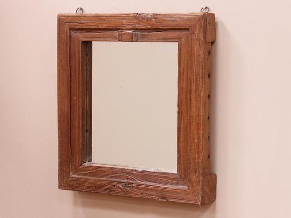 Vintage Window Mirror Brown Medium