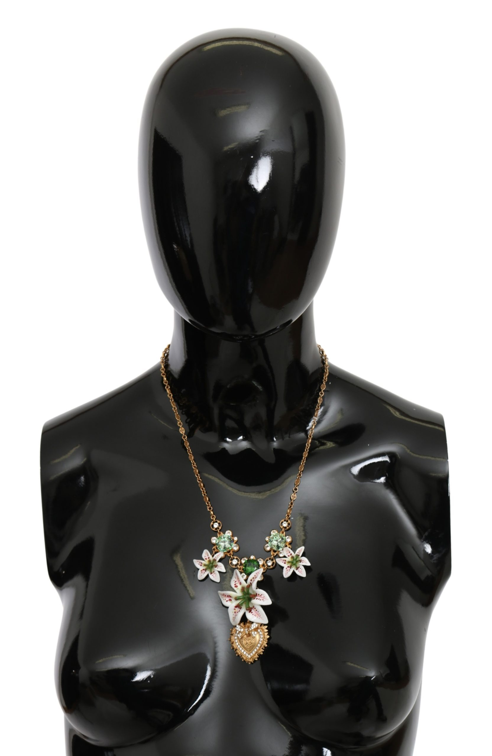Dolce & Gabbana Women's Brass Sacred Heart Crystal Floral Necklace Gold SMY10072