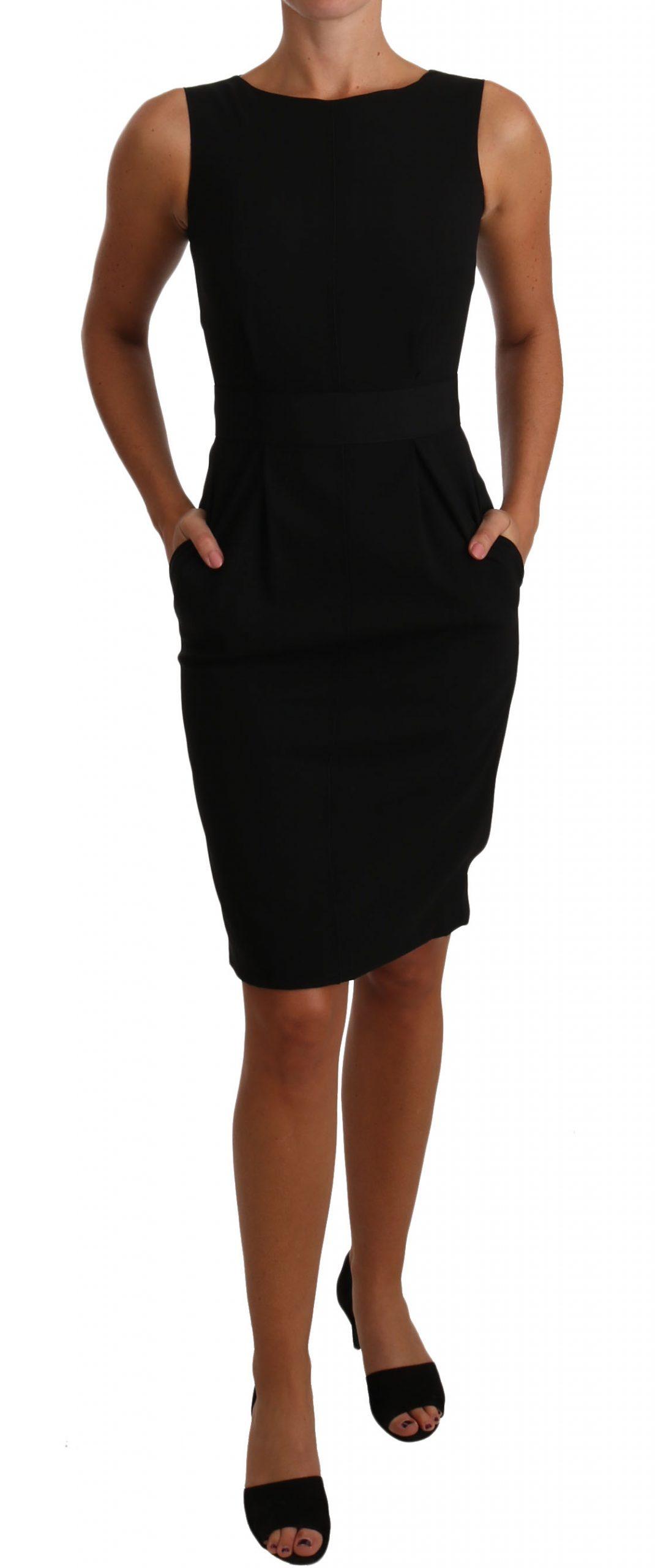 Dolce & Gabbana Women's Coctail Pencil Sheath Dress Black DR1424 - IT36 XXS