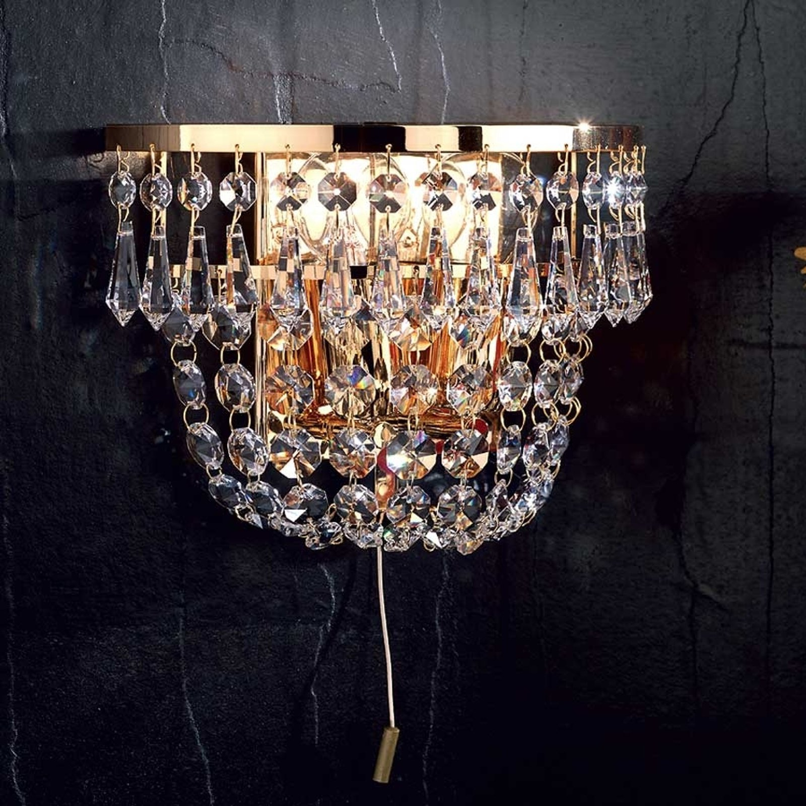 SHERATA krystallvegglampe i gull