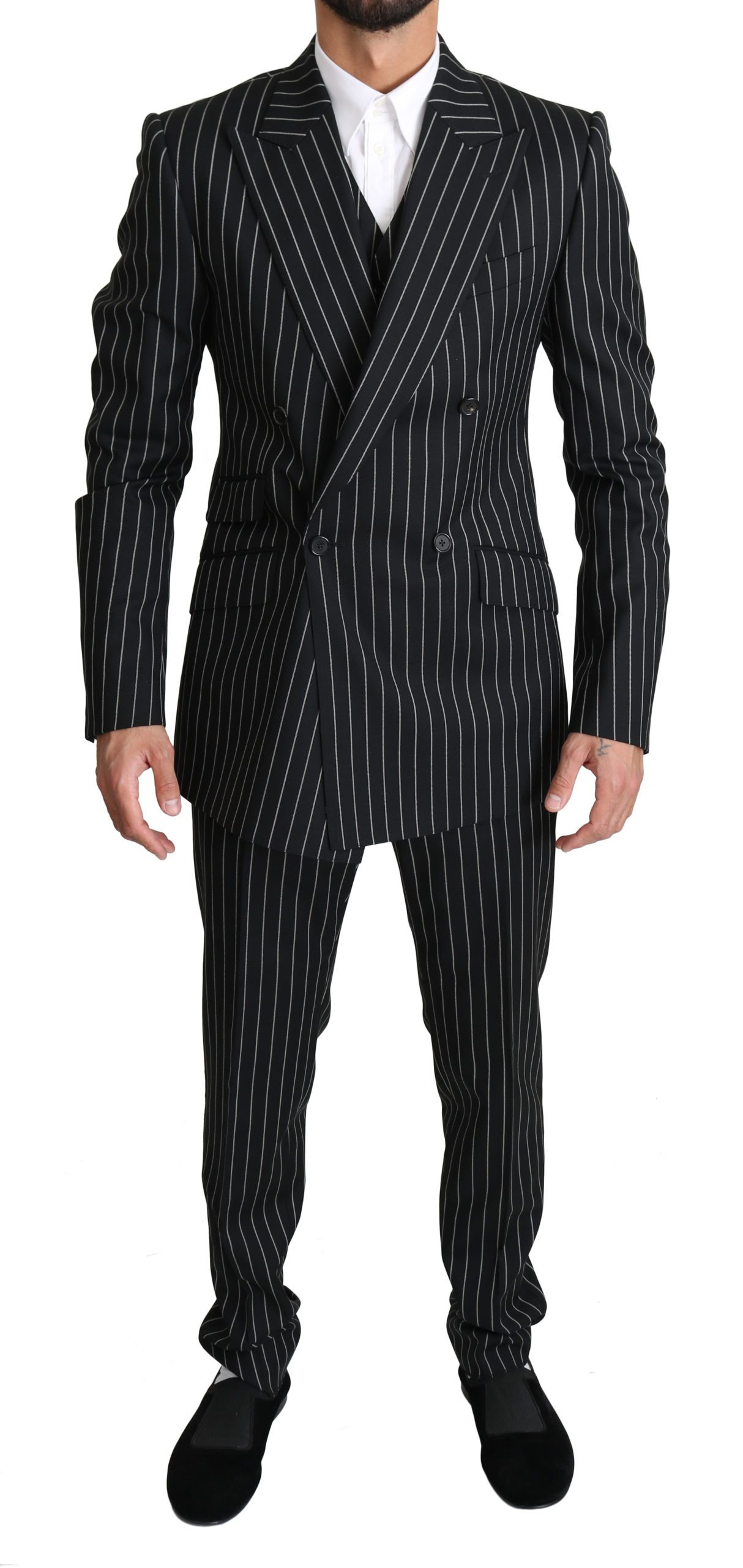 Dolce & Gabbana Men's Striped 3 Piece SICILIA Suit Beige KOS1525 - IT48   M