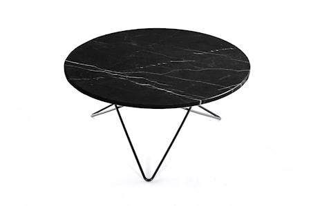 O Table Svart Marmor med Svart Ram Ø80