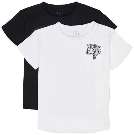 Luca & Lola Ettore T-Shirt 2-pack, White/Black 86-92