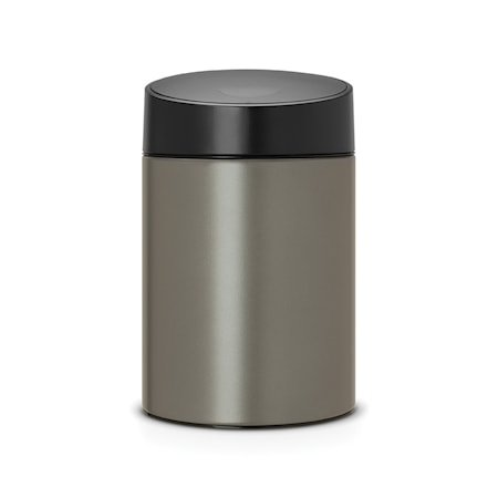 Slide Bin med svart plastlokk, plastinnerbøtte (går å montere på vegg) 5 L Platinum
