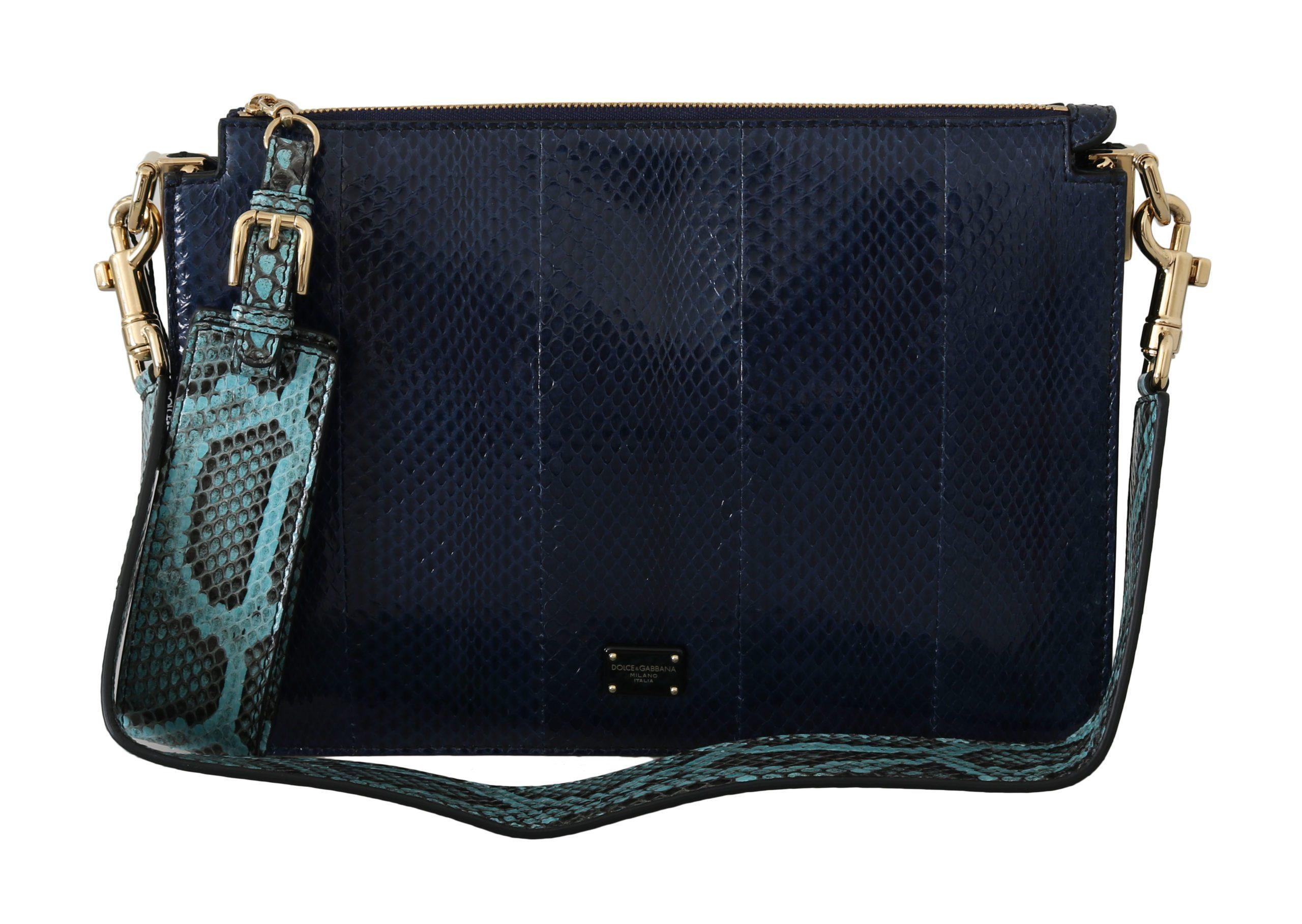 Dolce & Gabbana Women's Snakeskin BOOK Leather Shoulder Bag Blue VAS8666