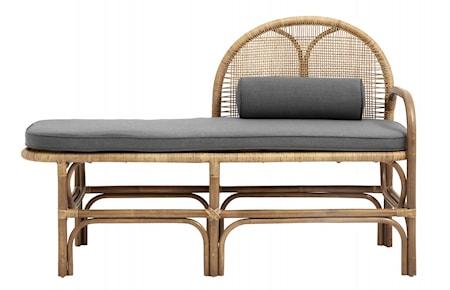 Bench w/mattress, rattan/weaving, nature