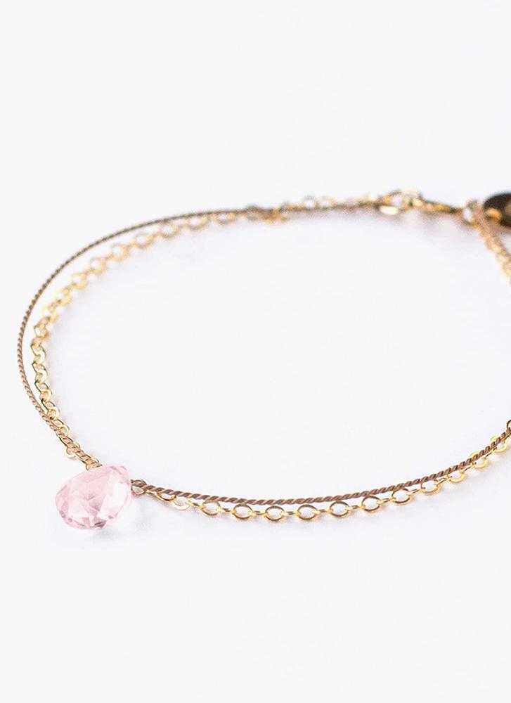Wanderlust Life Gold & Silk Rose Quartz Heart Chakra Medium Bracelet