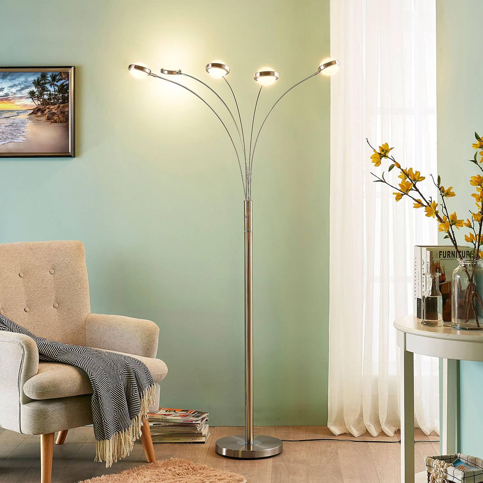 LED-gulvlampe Catriona med dimmer, 5 lyskilder
