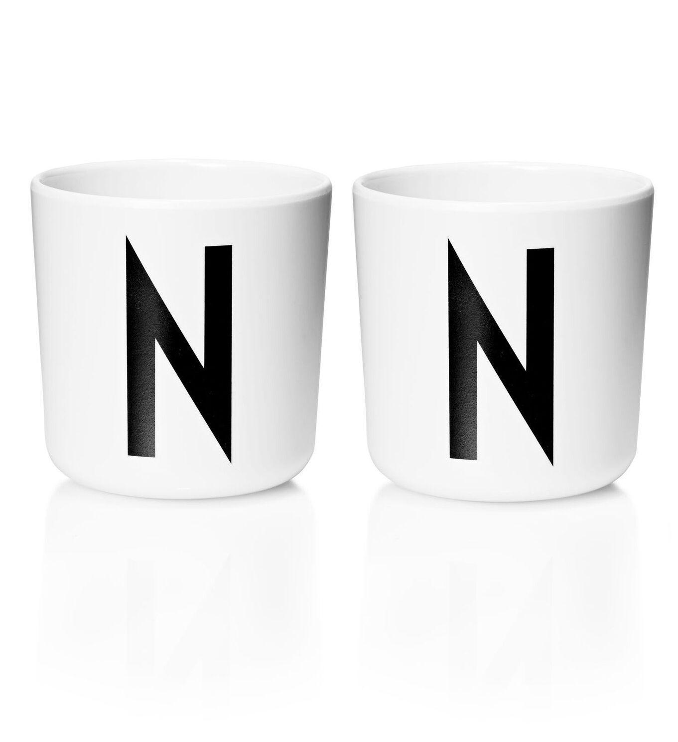 Design Letters - Personal Melamine Cup N - 2 pcs - White - (Bundle)