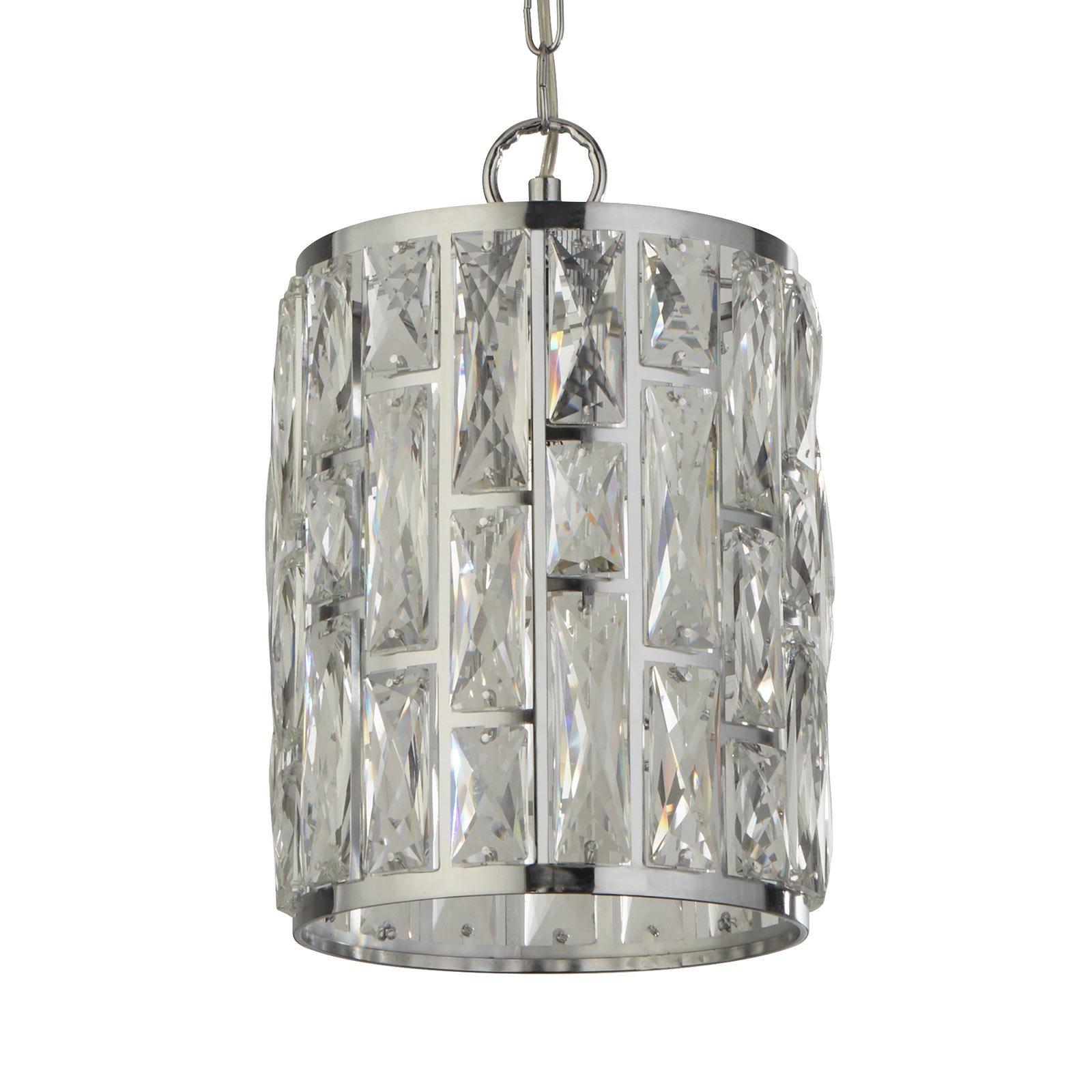 Hengelampe Bijou, skjerm med krystaller, Ø 22 cm