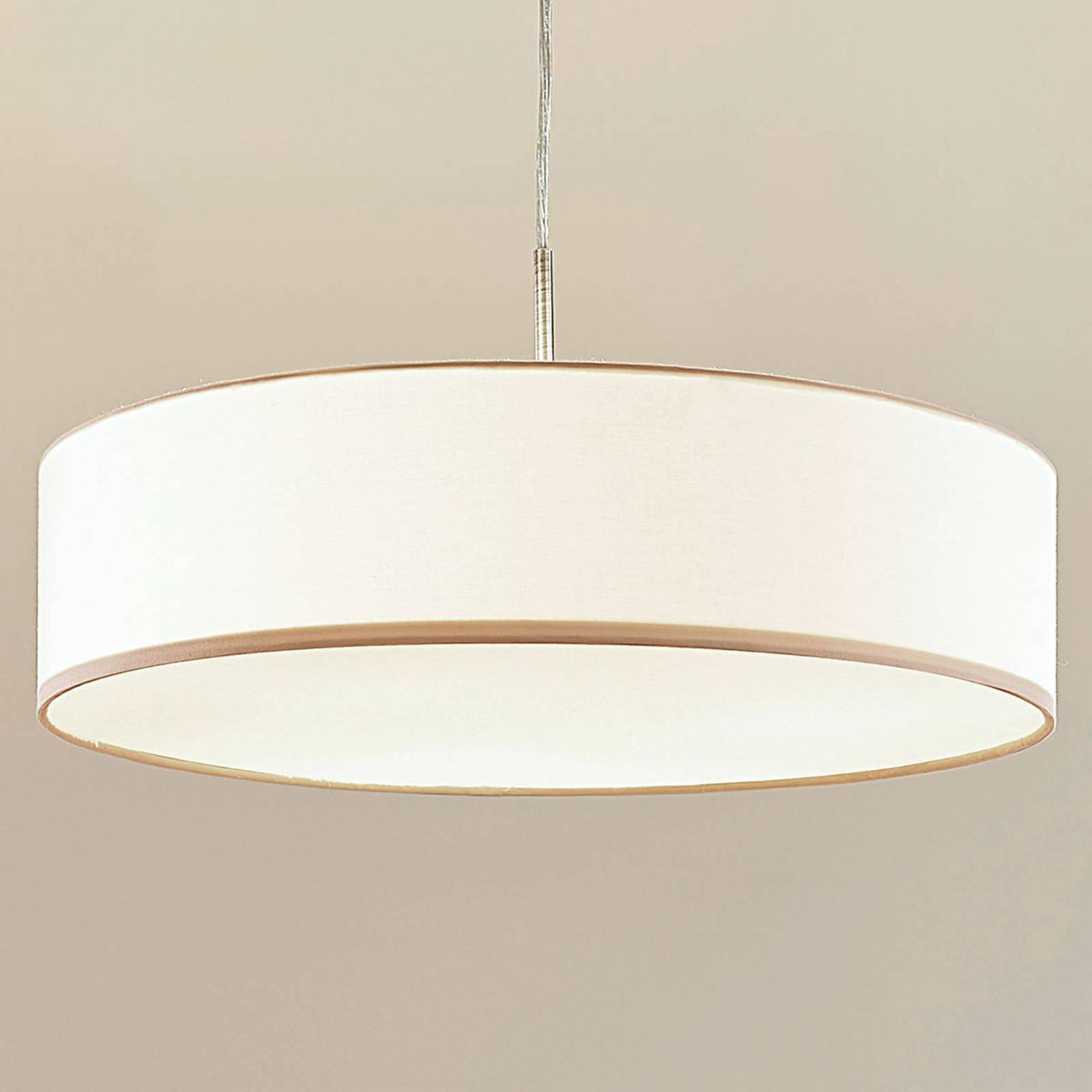 Kremfarget LED-pendellampe Sebatin av stoff