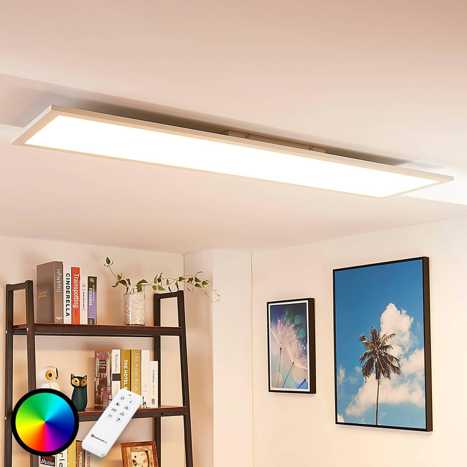 Avlang LED-taklampe Tinus, RGB og varmhvit