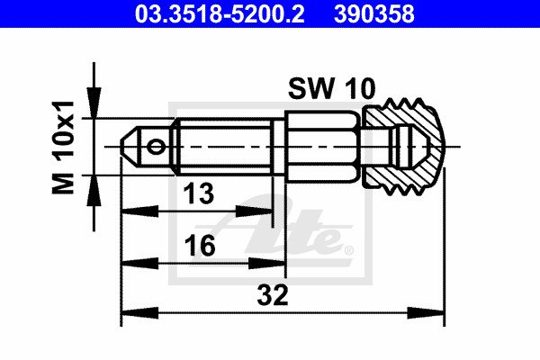 Huohottimen pultti / venttiili ATE 03.3518-5200.2