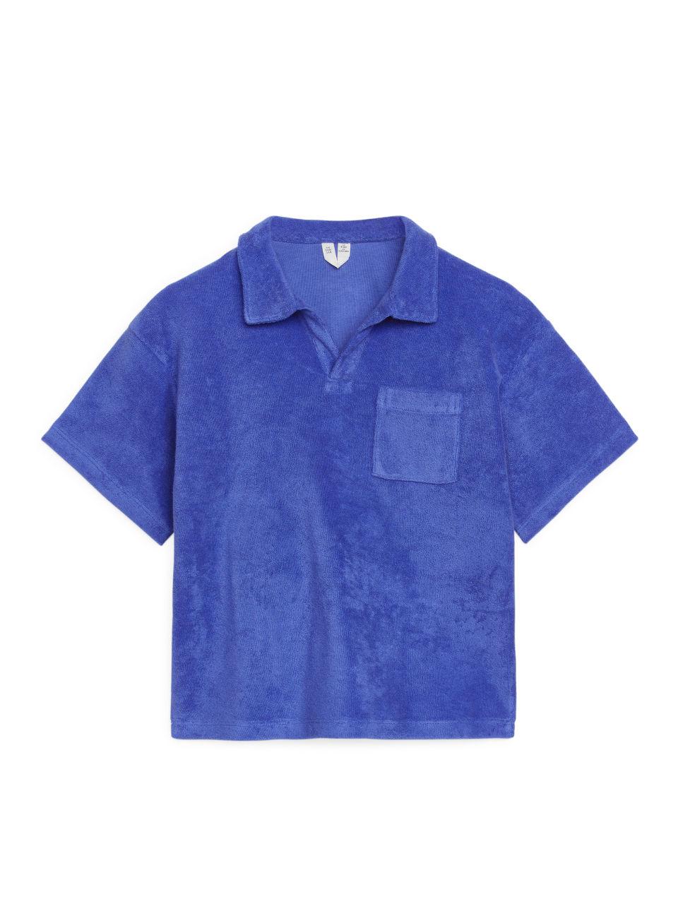 Cotton Towelling Polo Shirt - Blue