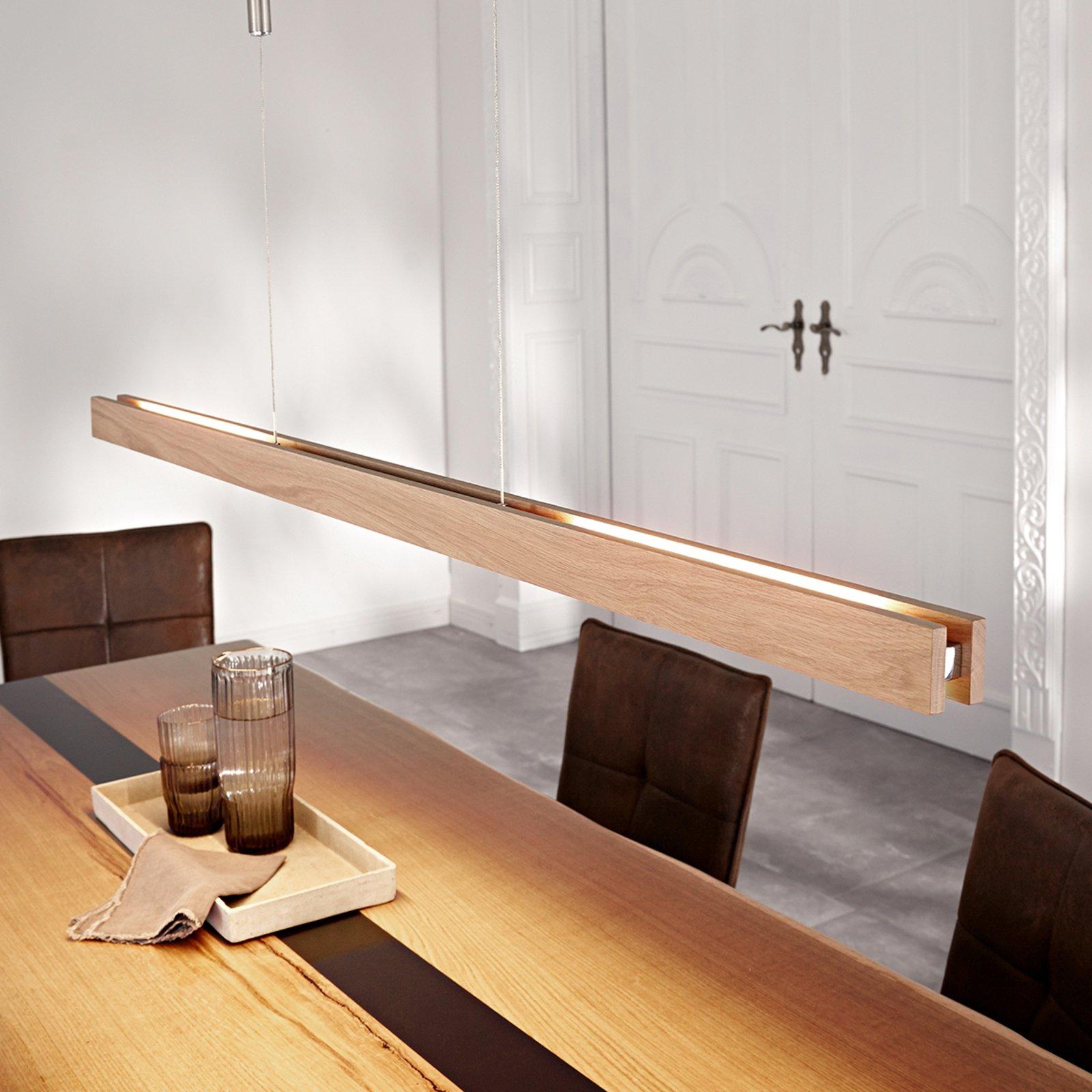 Tre-LED-taklampe Alin, eik natur, 138 cm