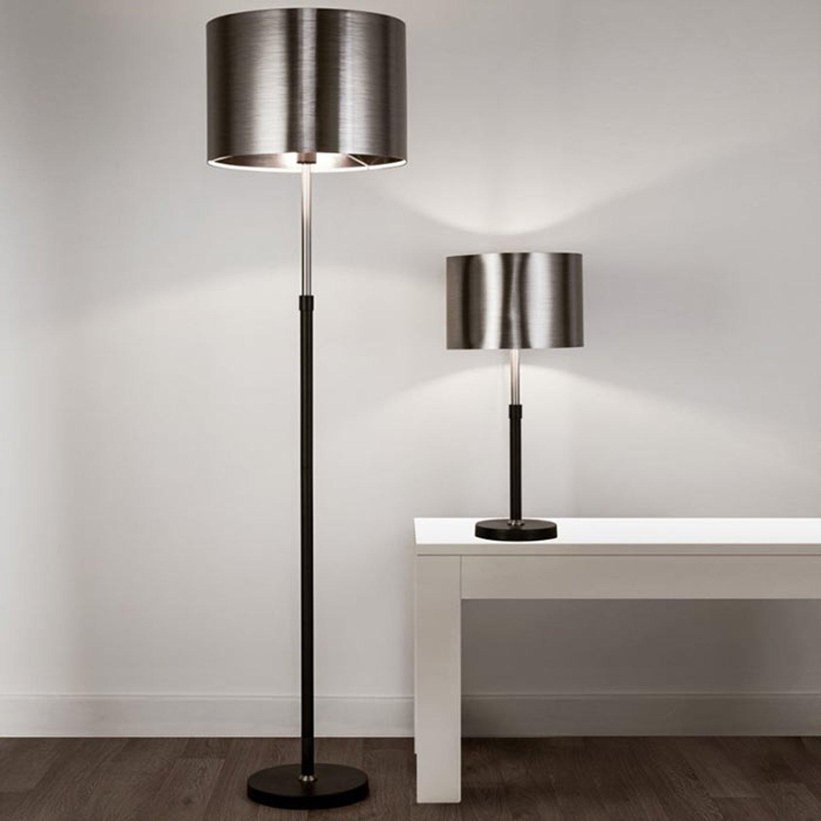 Bordlampe Column, skjerm svart-krom