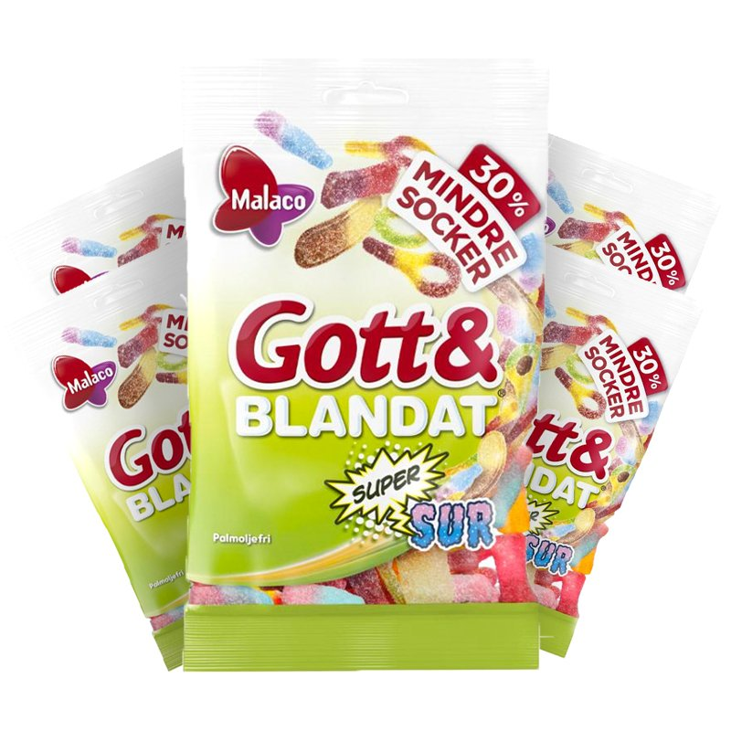 Gott & Blandat Supersur Mindre Socker 5-pack - 53% rabatt