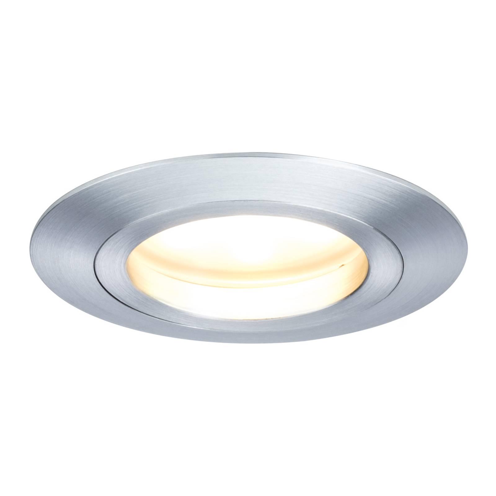 Alumiininvärinen LED-uppovalaisin Coin pyöreä IP44