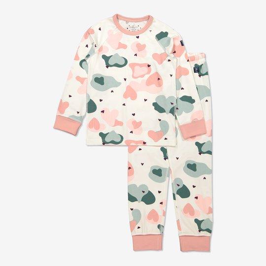 Todelt pyjamas med hjerter rosa