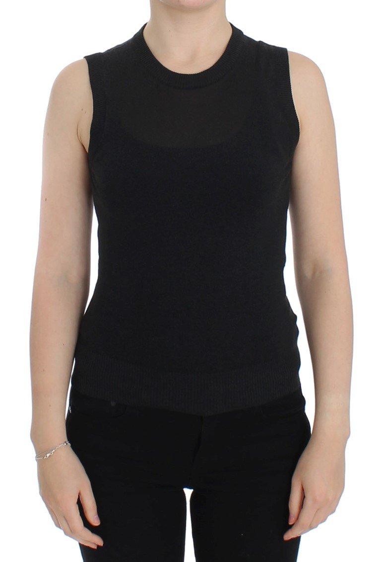 Black Sleeveless Crewneck Vest Pullover - IT48 | XL