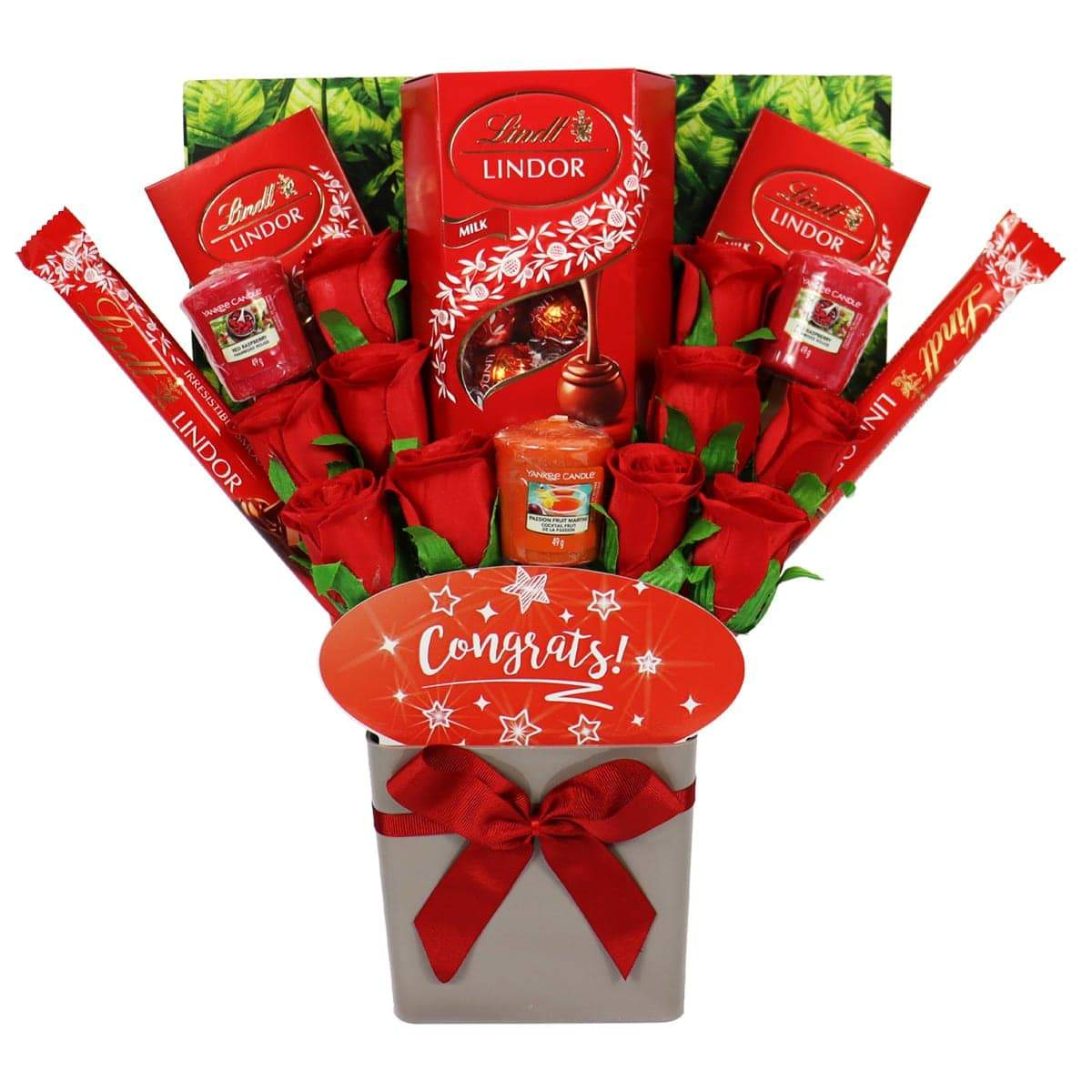 The Congrats Yankee Candle and Red Rose Bouquet