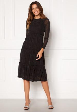 Happy Holly Emilia Glitter flounce dress Black / Silver 44/46