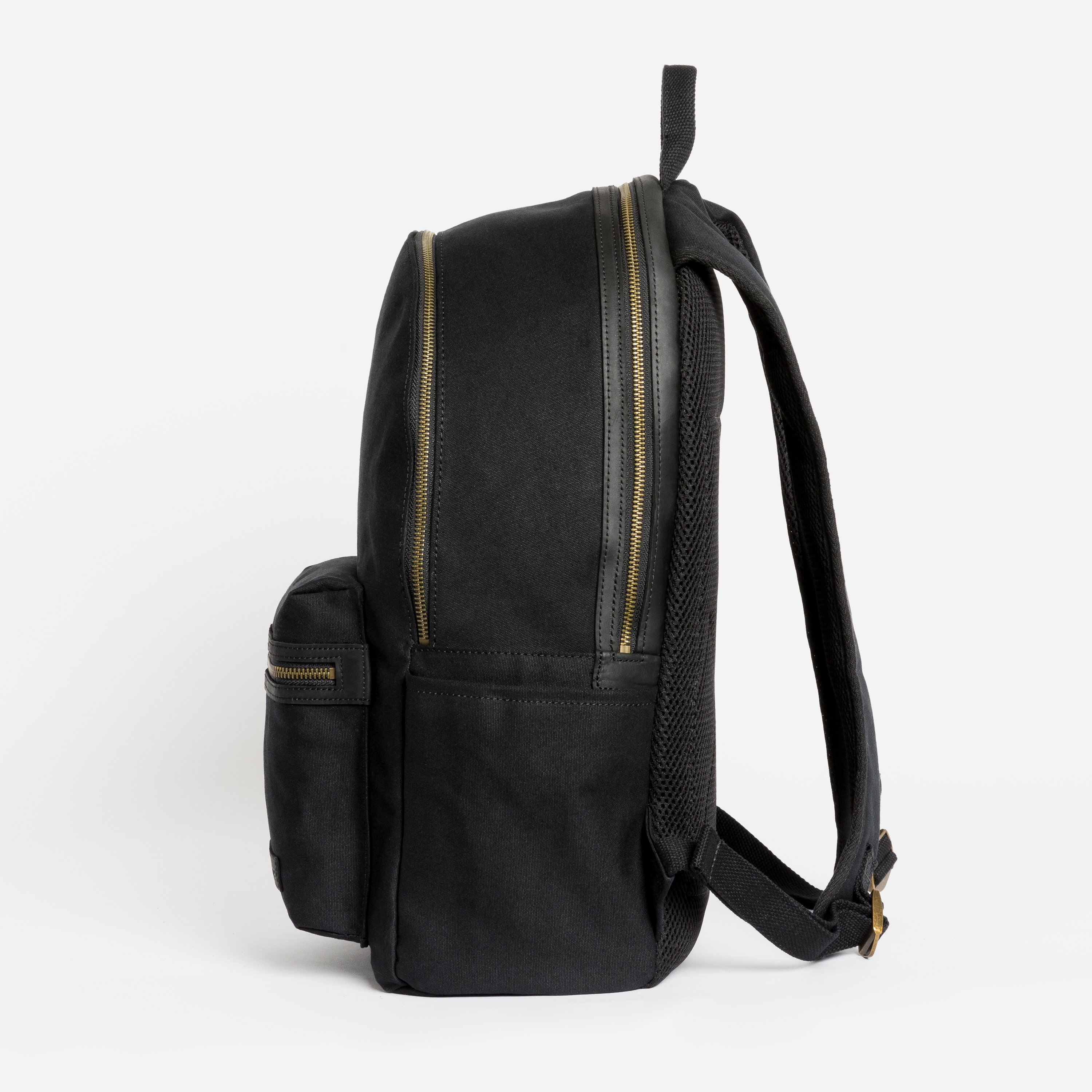 """The Commuter Backpack. Waterproofed Canvas and Leather. 16"""" Laptop Pocket., Black"""