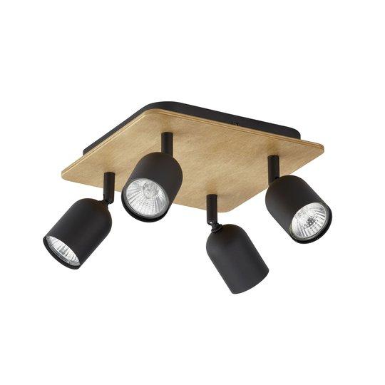 Takspot Top Wood, 4 lyskilder, tre/svart