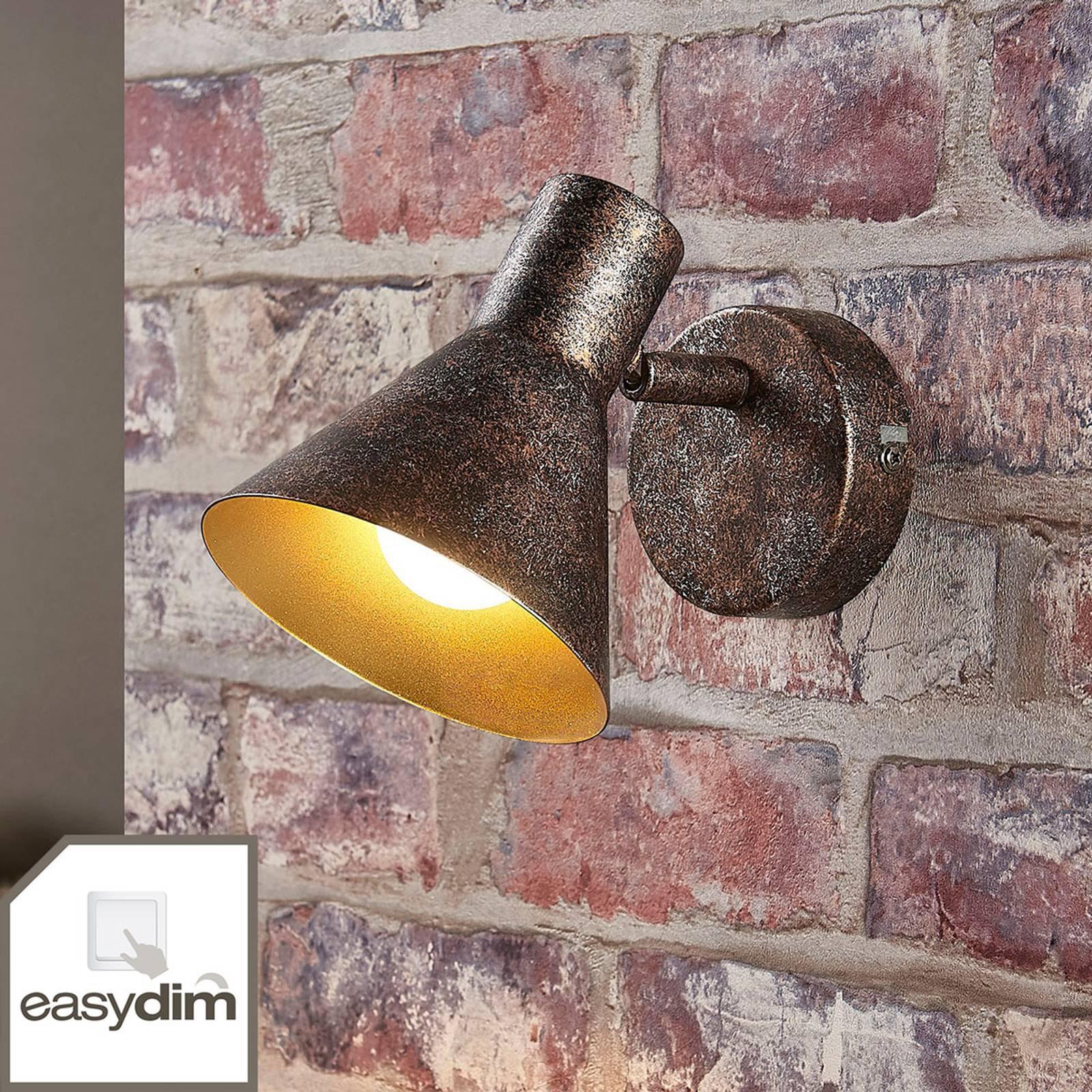 Rustfarget LED-vegglampe Zera, innvendig gull
