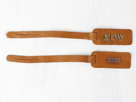 Customisable Bag Tag - Antique Leather Brown