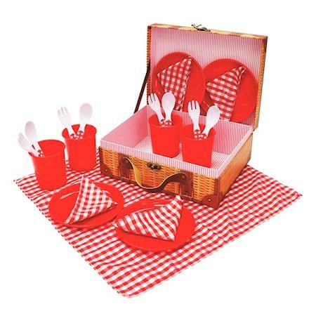 Pikniksett i plast, 21 deler, Rød