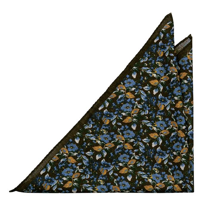 Ull Lommetørkler, Brune, blå, gule og hvite blomster, Brun, Blomstermønster