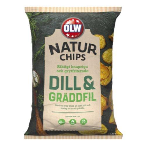OLW Naturchips Dill & Gräddfil - 150 gram