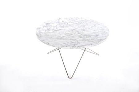 O Table Spisebord Rustfritt Stål/Hvit Marmor Ø100