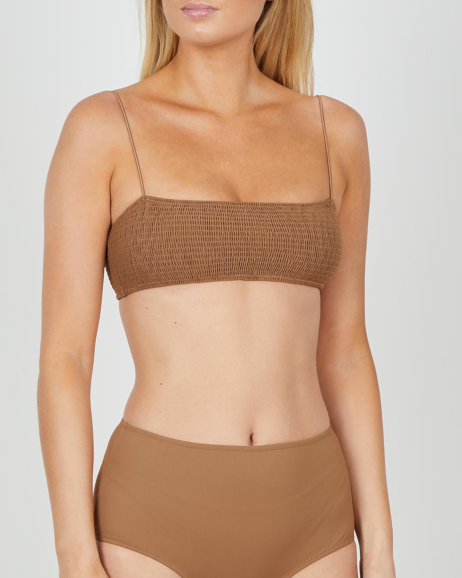 Totême Bikinitopp Smocked brun XXS